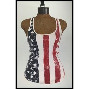 Rue 21 Clear Sequin USA Flag Racerback Tank Top M